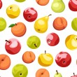 Seamless background with apples, pears and peaches. Vector illustration. — Stock Vector