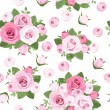 Stock Vector: Seamless background with pink roses on white. Vector illustration.