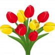 Stock Vector: Bouquet of red and yellow tulips. Vector illustration.