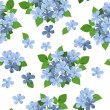 Seamless background with blue flowers. Vector illustration. — Stock Vector