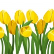 Horizontal seamless background with yellow tulips. Vector illustration. - Stock Vector