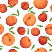Seamless background with peaches. Vector illustration. — Stock Vector