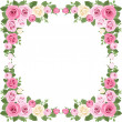 Vintage roses frame. Vector illustration. - Stock Vector