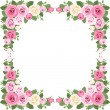 Vintage roses frame. Vector illustration. - Stockvektor