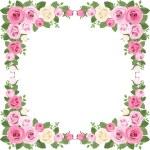 Vintage roses frame. Vector illustration. — Stock Vector