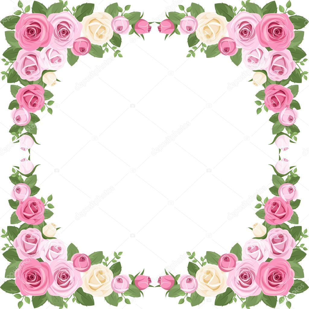 Pink flowers borders and frames
