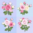 Set of four roses branches. Vector illustration. - Stock Vector