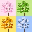 Four season trees. Vector illustration. - Stock Vector