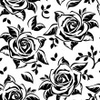 Seamless pattern with black silhouettes of roses. Vector illustration. - Imagen vectorial