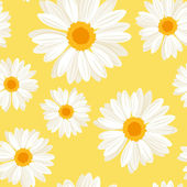 Seamless background with daisy flowers on yellow. Vector illustration. — Stock Vector
