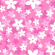 Vector seamless pattern with white and pink flowers. - Stock Vector