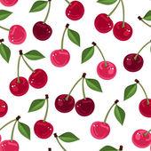 Vektor seamless mönster med mogna körsbär och blad på vit bakgrund. — Stockvektor