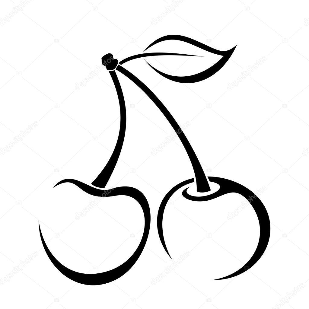 Dessin contour de cerise illustration vectorielle image - Dessin contour ...