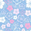 Vector seamless pattern with white and pink flowers on a blue background. — Stock Vector