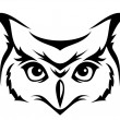 Head of horned owl. Vector illustration. - Stock Vector