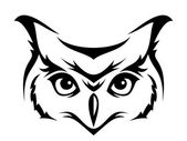 Head of horned owl. Vector illustration. — Stockvector