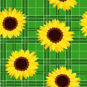 Seamless pattern with sunflowers on green tartan background. Vector illustration. — Stock Vector