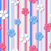 Vector seamless pattern with flowers on a striped background. — Stock Vector