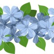Horizontal seamless background with blue flowers. Vector illustration. — Imagens vectoriais em stock