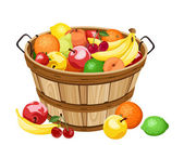 Wooden basket with various fruits. Vector illustration. — Stock Vector