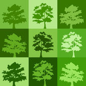 Green silhouettes of trees. Vector background. — Stock Vector
