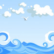 Sea waves and clouds. Vector horizontal seamless landscape. — Stock Vector #25643191