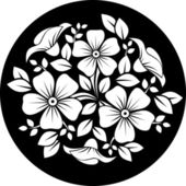 White flower ornament on a black background. Vector illustration. — Stock Vector