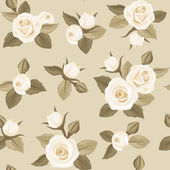 Vector seamless pattern with white roses on beige. — Stock Vector
