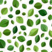 Seamless background with green leaves. Vector illustration. — Stock Vector