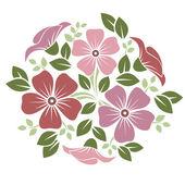 Ornamento con fiori rosa e viola. illustrazione vettoriale. — Vettoriale Stock