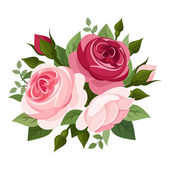 Red and pink roses. Vector illustration. — ストックベクタ