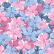 Seamless background with blue and pink flowers. Vector illustration. — Stock Vector