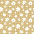 White flowers on a beige wicker background. Eps-10 vector seamless pattern. — Stock Vector