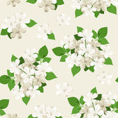 Seamless pattern with white flowers. Vector illustration. — Stockvector