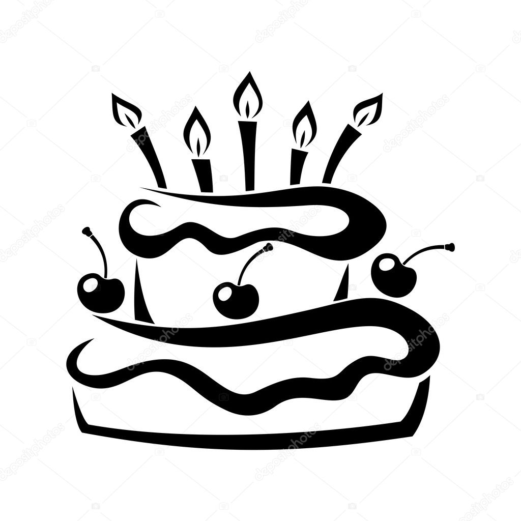 Black Silhouette Of Birthday Cake. Vector Illustration