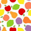 Seamless background with various fruits silhouettes. Vector illustration. — Stock Vector #28125805