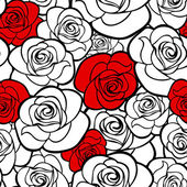 Seamless pattern with roses contours. Vector illustration. — Stock Vector