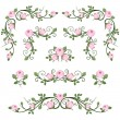 Stock Vector: Vintage calligraphic vignettes with pink roses. Vector illustration.