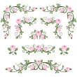 Vintage calligraphic vignettes with pink roses. Vector illustration. — Stock Vector