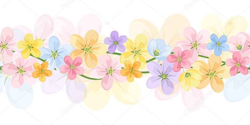 Flores Horizontales Dibujos Animados Patrón De Fondo: Horizontal Seamless Background With Colorful Flowers