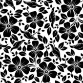 Seamless pattern with flowers and leaves. Vector illustration. — Vector de stock