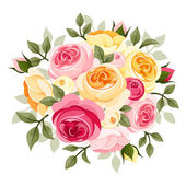 Pink and yellow roses. Vector illustration. — Stock Vector