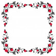 Vintage calligraphic frame with red roses. Vector illustration. — Stock Vector