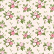 Vector seamless pattern with pink rose buds and leaves.   — Stock Vector