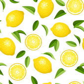 Seamless background with lemons. Vector illustration. — Stock vektor