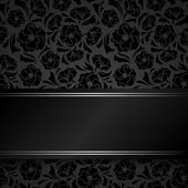 Vector black card with floral pattern. — Stock Vector