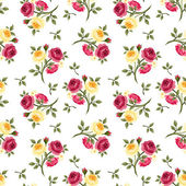 Seamless pattern with red and yellow roses. Vector illustration. — Stock Vector