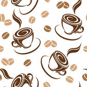 Seamless background with coffee beans and cups. Vector illustration. — Stock Vector