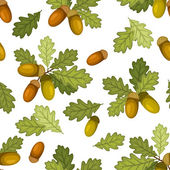 Seamless pattern with acorns and oak leaves. Vector illustration. — Stock Vector
