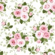 Stock Vector: Seamless pattern with pink roses. Vector illustration.